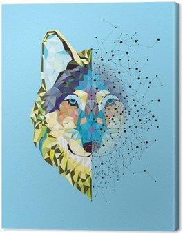 Canvastavla Wolf huvudet i geometriskt mönster med Star Line vektor