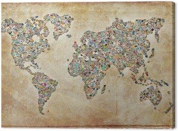 Canvastavla World Map bilder, vintagestruktur