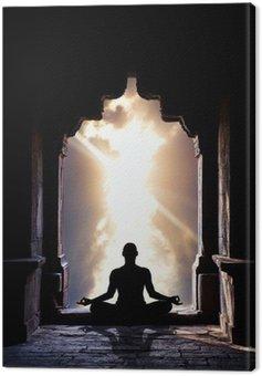 Canvastavla Yoga meditation i templet
