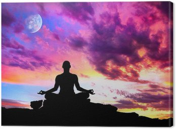Canvastavla Yoga meditation silhuett pose