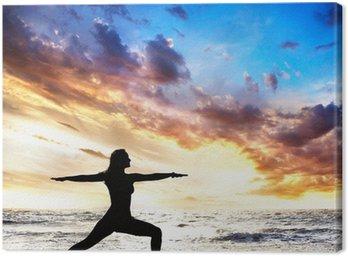 Canvastavla Yoga silhuett krigare II pose