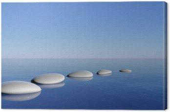 Canvastavla Zen stenar i blått vatten