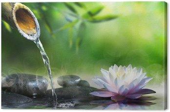 Canvastavla Zen trädgård med massage stenar och näckros