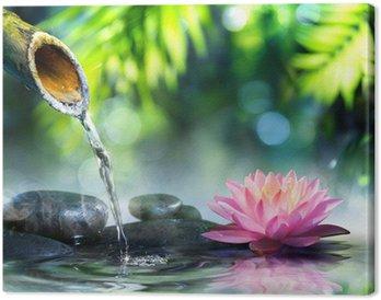 Canvastavla Zen trädgård med svarta stenar och rosa näckros