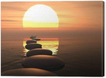 Canvastavla Zen väg stenar i solnedgången
