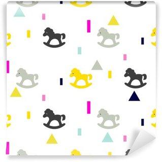 Carta da Parati in Vinile A dondolo cavallo grigio, modello kid rosa e giallo. Bambino cavallo giocattolo vettore seamless per la stampa in tessuto e capi di vestiario.