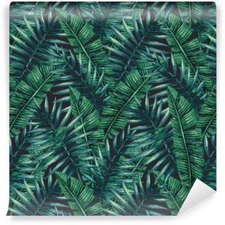 Carta da Parati a Motivi in Vinile Acquerello tropicali foglie di palma seamless. Illustrazione vettoriale.