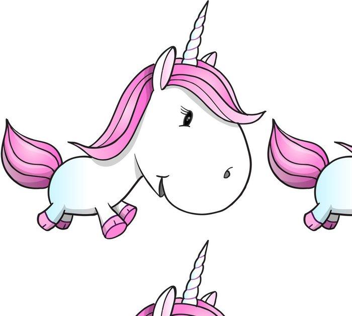 Carta da Parati a Motivi in Vinile Carino Unicorn Pony illustrazione vettoriale arte - Animali immaginari