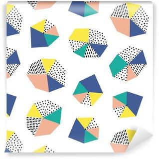 Carta da Parati a Motivi Pixerstick Disegnato a mano seamless con pennellate e figura geometrica.