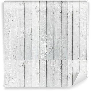 Carta da Parati a Motivi Pixerstick Grunge verniciato bianco tavolato in legno
