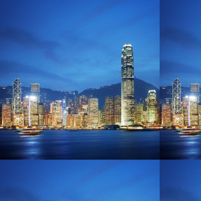 Carta da Parati a Motivi in Vinile Hong Kong Victoria Harbor durante la notte. - Città asiatiche