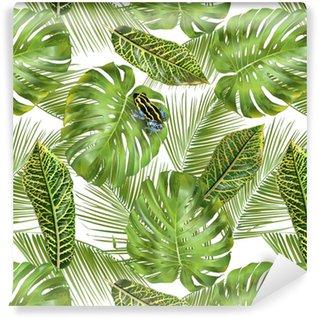 Carta da Parati a Motivi in Vinile Modello di foglie tropicali