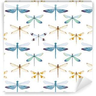 Carta da Parati a Motivi in Vinile Modello libellule acquerello
