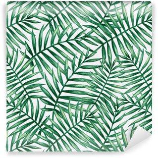 Carta da Parati a Motivi in Vinile Modello senza cuciture delle foglie di palma tropicale dell'acquerello. illustrazione vettoriale.