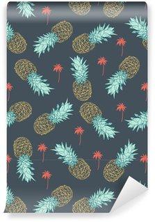 Carta da Parati a Motivi Pixerstick Pineapple seamless pattern