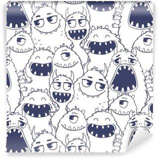 Carta da Parati a Motivi in Vinile Seamless pattern con i mostri.