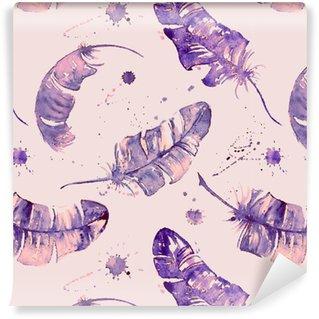 Carta da Parati a Motivi in Vinile Seamless pattern con le piume acquerello