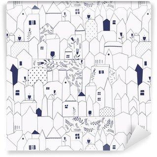 Carta da Parati a Motivi in Vinile Seamless pattern. Figura città in stile vintage.