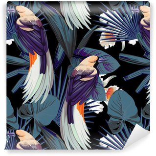 Carta da Parati a Motivi in Vinile Uccelli, orchidee e notte giungla senza soluzione di sfondo