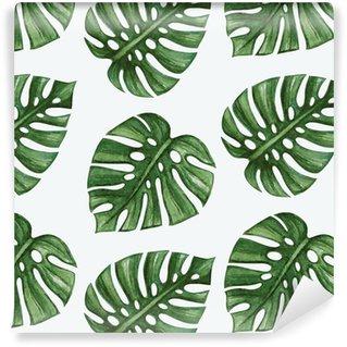 Carta da Parati a Motivi Pixerstick Watercolor tropical palm leaves seamless pattern. Vector illustration.