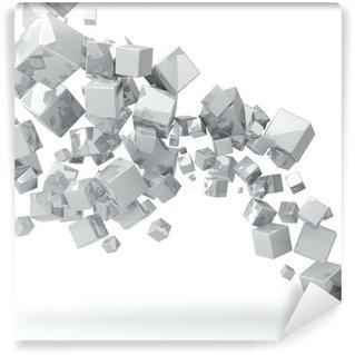 Carta da Parati in Vinile Abstract 3D bianco lucido sfondo cubi.