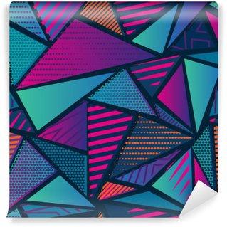 Carta da Parati in Vinile Abstract pattern caotico senza soluzione di continuità con elementi geometrici urbani. Grunge texture di sfondo al neon. Wallpaper per ragazzi e ragazze