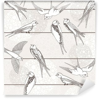 Carta da Parati in Vinile Abstract seamless pattern. Uccelli sui fili.