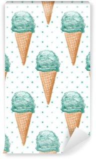 Carta da Parati in Vinile Acquarello Seamless pattern con sfondo dipinto coni gelato mano