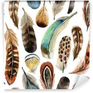 Carta da Parati in Vinile Acquerello feather background