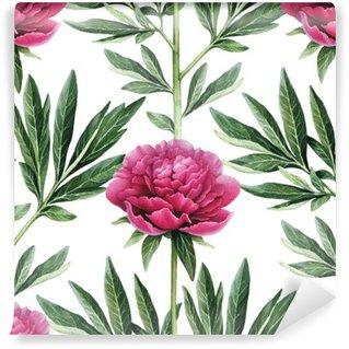 Carta da Parati in Vinile Acquerello fiori di peonia illustrazione. Seamless pattern