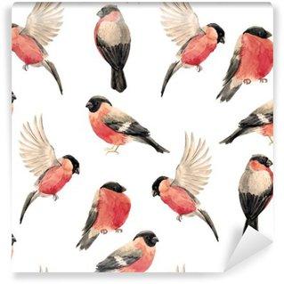 Carta da Parati in Vinile Acquerello modello ciuffolotto uccello