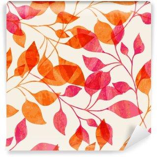 Carta da Parati in Vinile Acquerello modello senza soluzione di continuità con le foglie di colore rosa e arancio.