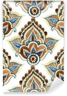 Carta da Parati in Vinile Acquerello ornamento indian