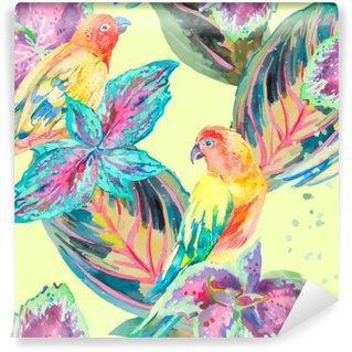 Carta da Parati in Vinile Acquerello pappagalli .Tropical fiori e foglie. Esotico.