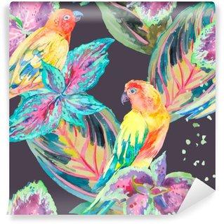 Carta da Parati in Vinile Acquerello pappagalli .Tropical fiori e foglie.