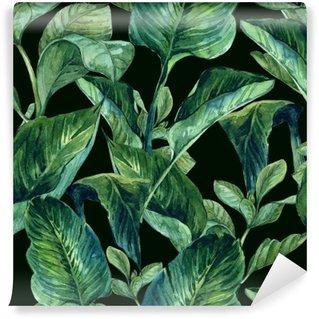 Carta da Parati in Vinile Acquerello sfondo trasparente con foglie tropicali