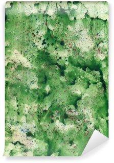 Carta da Parati in Vinile Acquerello sfondo verde con spray rosso.