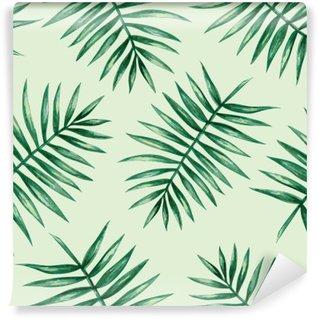 Carta da Parati in Vinile Acquerello tropicali foglie di palma seamless. Illustrazione vettoriale.