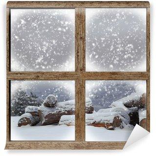 Carta da Parati in Vinile All'aperto inverno Vista con legna da ardere palo da finestra in legno