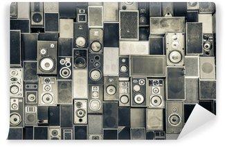 Carta da Parati in Vinile Altoparlanti di musica sul muro in stile bianco e nero d'epoca