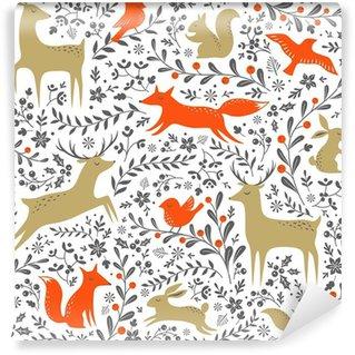 Carta da Parati in Vinile Animali di Natale floreali boschi seamless su sfondo bianco