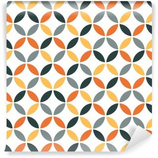 Carta da Parati in Vinile Arancione geometrica Retro Seamless Pattern