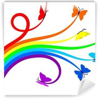 Carta da Parati in Vinile Arcobaleno farfalle