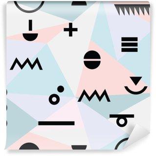Carta da Parati in Vinile Astratto minimal geometrico modello moderno materiale di fondo e simboli neri