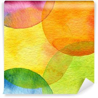 Carta da Parati in Vinile Astratto sfondo acquerello cerchio dipinto