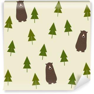 Carta da Parati Autoadesiva Bear and forest seamless background.