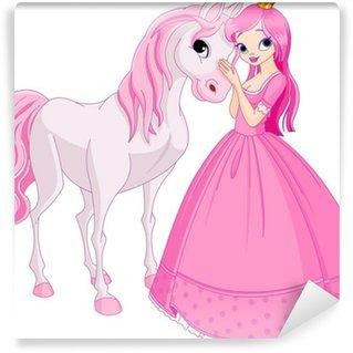 Carta da Parati Autoadesiva Bella principessa e il cavallo