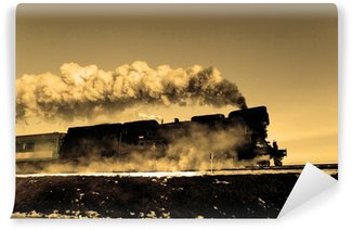 Carta da Parati Autoadesiva Vecchio treno a vapore retrò