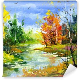 Carta da Parati in Vinile Autunno paesaggio con il fiume di legno