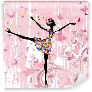 Carta da Parati in Vinile Ballerina ragazza con i fiori con farfalle grunge